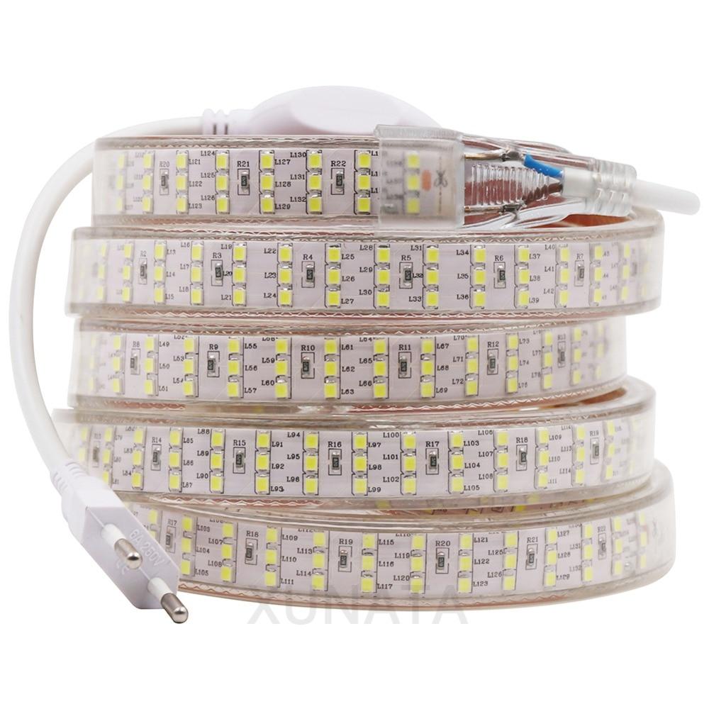 XUNATA 276Leds/m SMD 2835 LED Strip 220V 50cm Cuttable Three Row Waterproof Tape Rope Warm White Decoration Lights 1m 5m 10m 20m