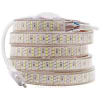Xunata 276 leds/m smd 2835 tira conduzida 220 v 50cm cortável três fileira impermeável fita corda branco quente decoração luzes 1m 5m 10m 20m