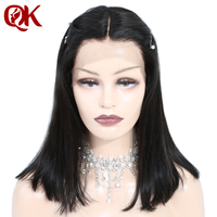 QueenKing hair Lace Front Wig 180% Density Bob Wig Natural Straight Middle Part Preplucked Brazilian Human Remy Hair