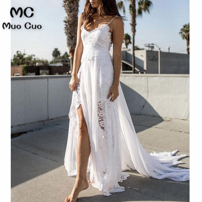 Винтажные пляжные свадебные платья 2018 с аппликацией, Платья На Бретельках для свадьбы, белые свадебные платья с разрезом спереди