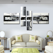 Free shipping handpainted white silver gray modern abstract oil painting on canvas wall art 4 piece decorations for home PICTURE