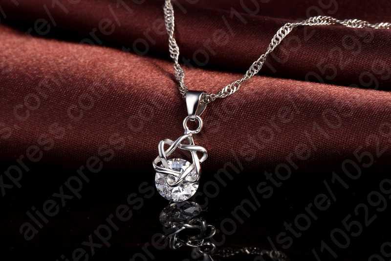 Heiße Verkäufe Freies verschiffen hohe qualität runde Exquisite Schmuck Sets CZ Zirkon Halskette Ohrringe Geschenk Für Frauen