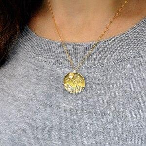 Image 4 - Lotus Fun pendentif sans chaîne, Design clair de lune, bijoux fins naturels faits à la main, pour femmes