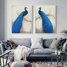 Retro Style Blue Peacock Standing On The Tree A4 Canvas Art Painting Print Poster Picture Wall Elegant Bedroom Home Decoration girls standing on lawns