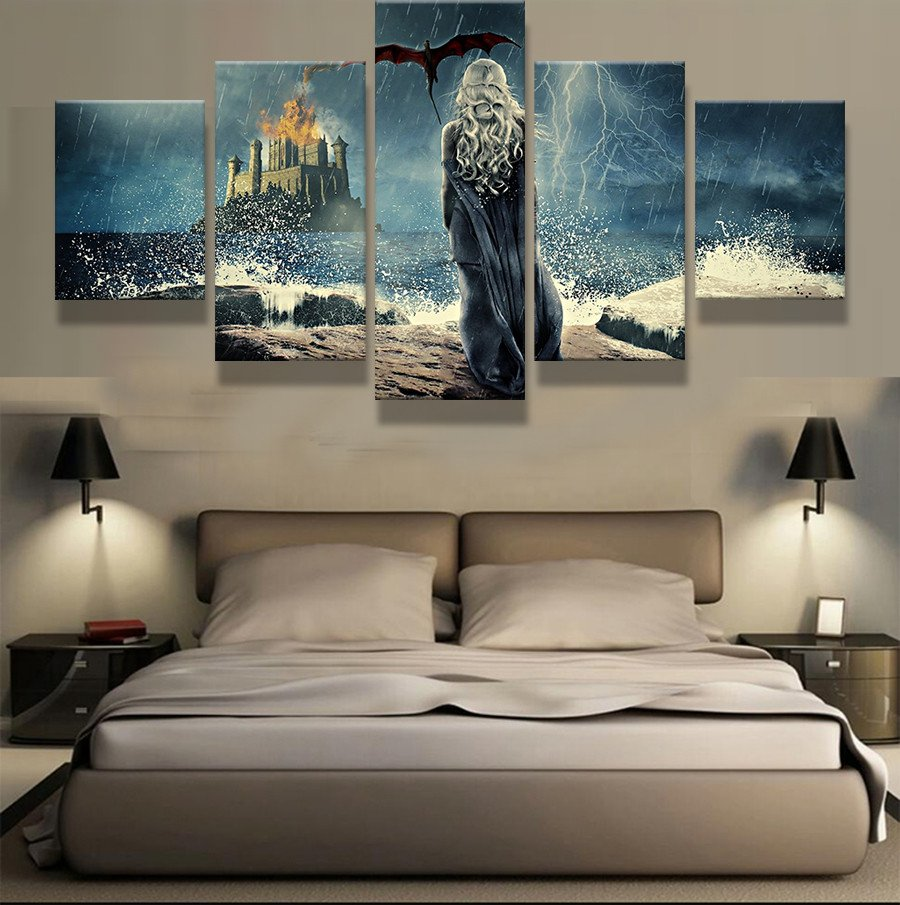 Frame 5 Piece HD Print Painting Game of Thrones Painting Canvas Wall Art  Picture Home Decoration. Online Buy Wholesale game of thrones home decor wall art picture