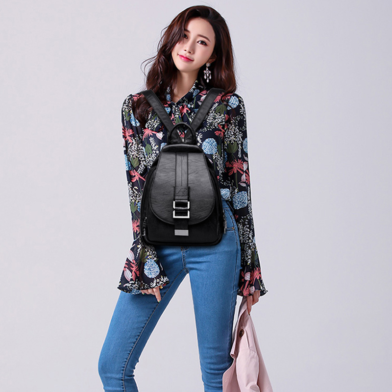 2019 Women Leather Backpacks Vintage Female Shoulder Bag Sac A Dos Travel Ladies Bagpack Mochilas School Bags For Girls Preppy #6