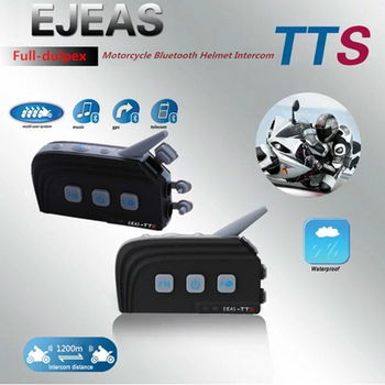 2 PC ejeas-tts double Interphone Bluetooth casque de Moto Kit casque BT Max 4 coureurs Moto Interphone système de Communication avec FM
