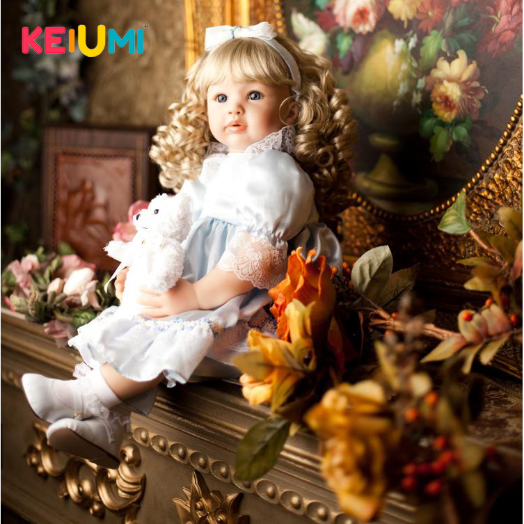 KEIUMI Realistic Silicone Reborn Babies Doll Lifelike 22'' Princess Baby Girl Doll Gold Hair Bebe Reborn Toys For Kids Gifts