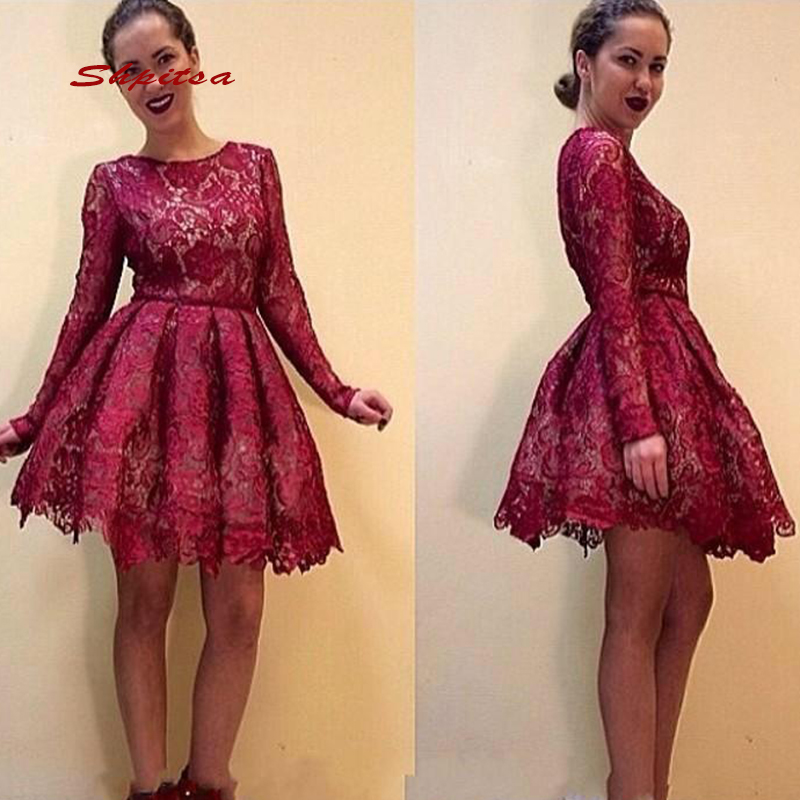 Us 935 15 Offlong Sleeve Lace Short Homecoming Dresses Burgundy Mini Women Plus Size 8th Grade Prom Cocktail Semi Formal Graduation Dress In