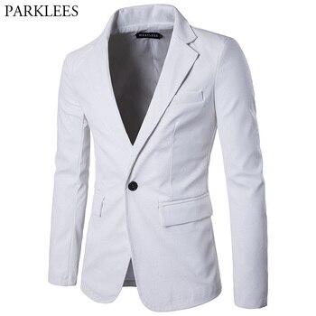 White PU Leather Blazer Men