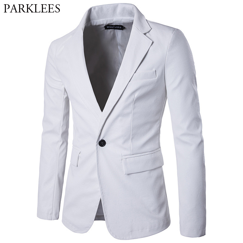 White PU Leather Blazer Men 2017 Brand New Mens Suit Jacket Casual Slim Fit Motorcycle Leather