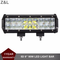 Offroad 90W LED Work Light Bar 9INCH 12V 24V Car Truck Tractor ATV Pickup Trailer Wagon Camper 4x4 4WD Combo Motorcycle Headlamp