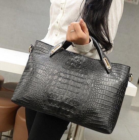 New Women Messenger Bag Crocodile Handbag Skin Las Leather Genuine Bags Pu Fashion Purse Female Totes In Top Handle From