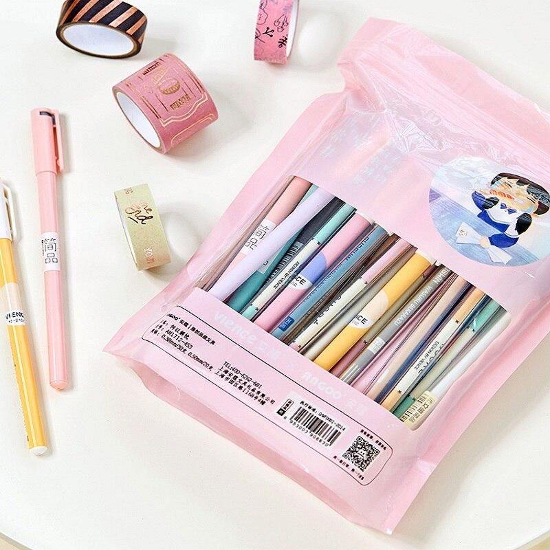 30 Pcs/Bag Gel Pen 0.38mm Needle Black Ink Pen School Supplies Office Supplies Kawaii Stationery Pens For Students Gel Pens
