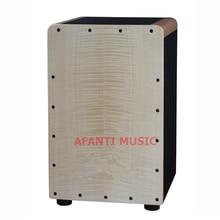 Afanti Music Tiger Grain Maple Birch Wood Natural Cajon Drum KHG 205