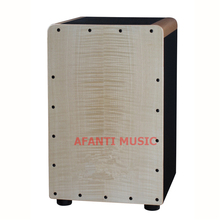 Afanti Music Tiger Grain Maple / Birch Wood / Natural Cajon Drum (KHG-205)
