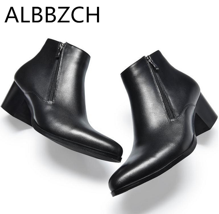 210574cb33c68 Fashion high heels mens genuine leather ankle boots height increase wedding shoes  men snow boots chelsea career work dress boots