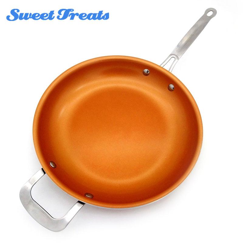 Сладкие угощения круглый антипригарным Медь сковорода с Керамика покрытие и индукции Пособия по кулинарии, печи и мыть в посудомоечной машине 12 дюйм(ов)