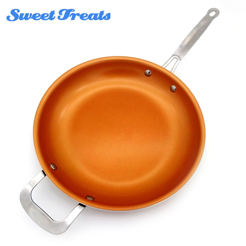 Sweettreats Round Non Stick Copper Frying Pan With Ceramic
