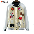 Winter Outwear Patch Designs Bomber Jacket White Baseball Coat for Women Autumn Basic Jackets Cartoon Leather Jacket Coat