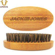 50pcs/lot Upgraded Quality Bamboo Beard Brush with Pure Boar Bristle for Facial Hair Oval Whiskers Custom LOGO
