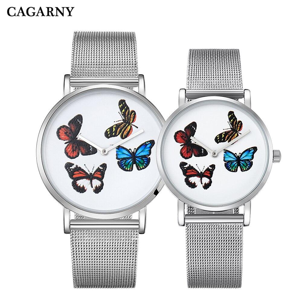 Cagarny Casual Lovers Watch Men Luxury Brand Famous Quartz Steel Mesh Band Women Watches Bracelet Watch Ladies Butterfly Clock