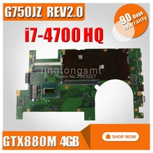 Free board + G750Jz Motherboard REV 2.0 2D I7-4700HQ For ASUS G750J Laptop motherboard G750Jz Mainboard G750Jz Motherboard