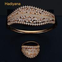 HADIYANA New Bohemia Lady Bangles And Rings 2pc Sets Shiny Cubic Zircon Beautiful And Unique Style Design Jewelry Set Prom SZ172