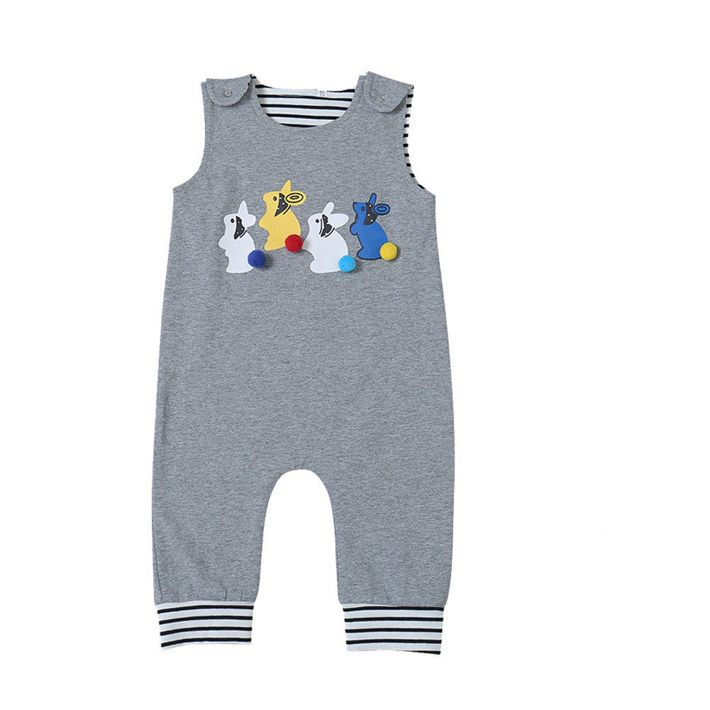 Easter Outfit Newborn Baby Boy Girl   Romper   Infant Kid Summer Clothes Toddler Bunny   Romper   Sleeveless Jumpsuit Children Outfit