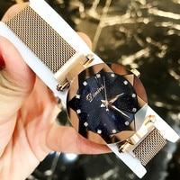 Top Brand Women Watch Fashion Women Creative Luxury Starry Quartz Watches Simple Magnet Stone Strap Clock horloges vrouwen