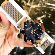 купить Top Brand Women Watch Fashion Women Creative Luxury Starry Quartz Watches Simple Magnet Stone Strap Clock horloges vrouwen дешево
