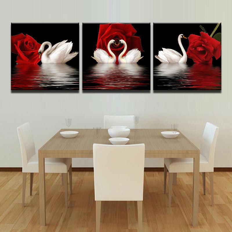 Модульная картина плакат Холст Картина Современная Художественная основа Live 3 Панель белые лебеди красные розы цветы фото украшение стены
