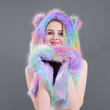 FOCI COZI New Rainbow Glove Scarf And Hat Set Novelty Animal Bomber Hats Faux Fur 3 In 1 Function Winter Accessories For Women free shipping 1pc lot popular crazy panda high quality faux fur hood animal hat with ear flaps and hand pockets 3 in 1 function