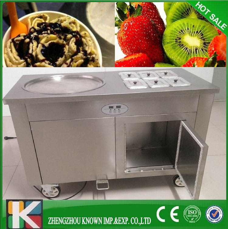 R410A  factory  ice cream single flat pan fried ice cream machine with 6 topping pansR410A  factory  ice cream single flat pan fried ice cream machine with 6 topping pans