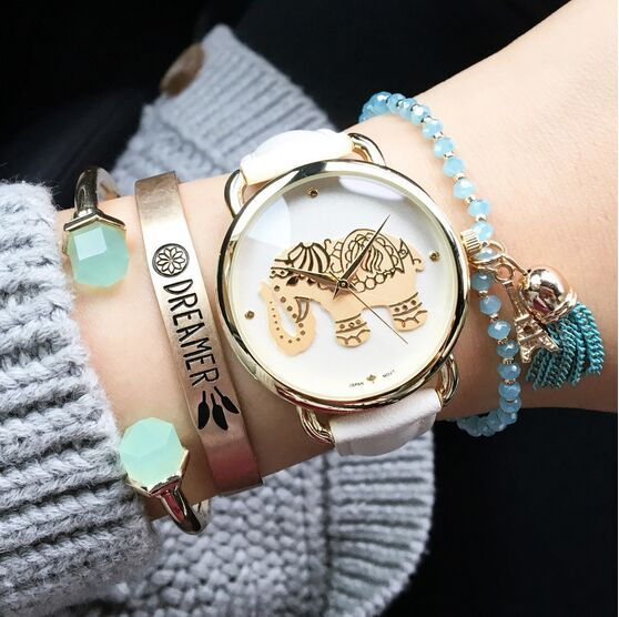 2016 New Watch Women Fashion Casual Dress Watches Elephant Quartz Wristwatch Leather Strap Relogio Clock Lowest Price n051 kimio new fashion leather strap women quartz casual bracelet watch clock female ladies girl dress wristwatch relogio and box
