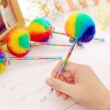 BLINGIRD New Arrivals 0 5mm cute rainbow kawaii korean gel pen creative hair ball promotional gift