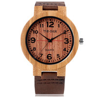 Novel Nature Wood Quartz Wrist Watch Bangle Creative Casual Men Bamboo Brown Genuine Leather Band Strap