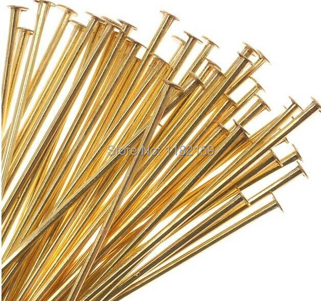 Jewelry Findings Wholesale Free Ship 400pcs Gold Plated Big Head Pins 50mm
