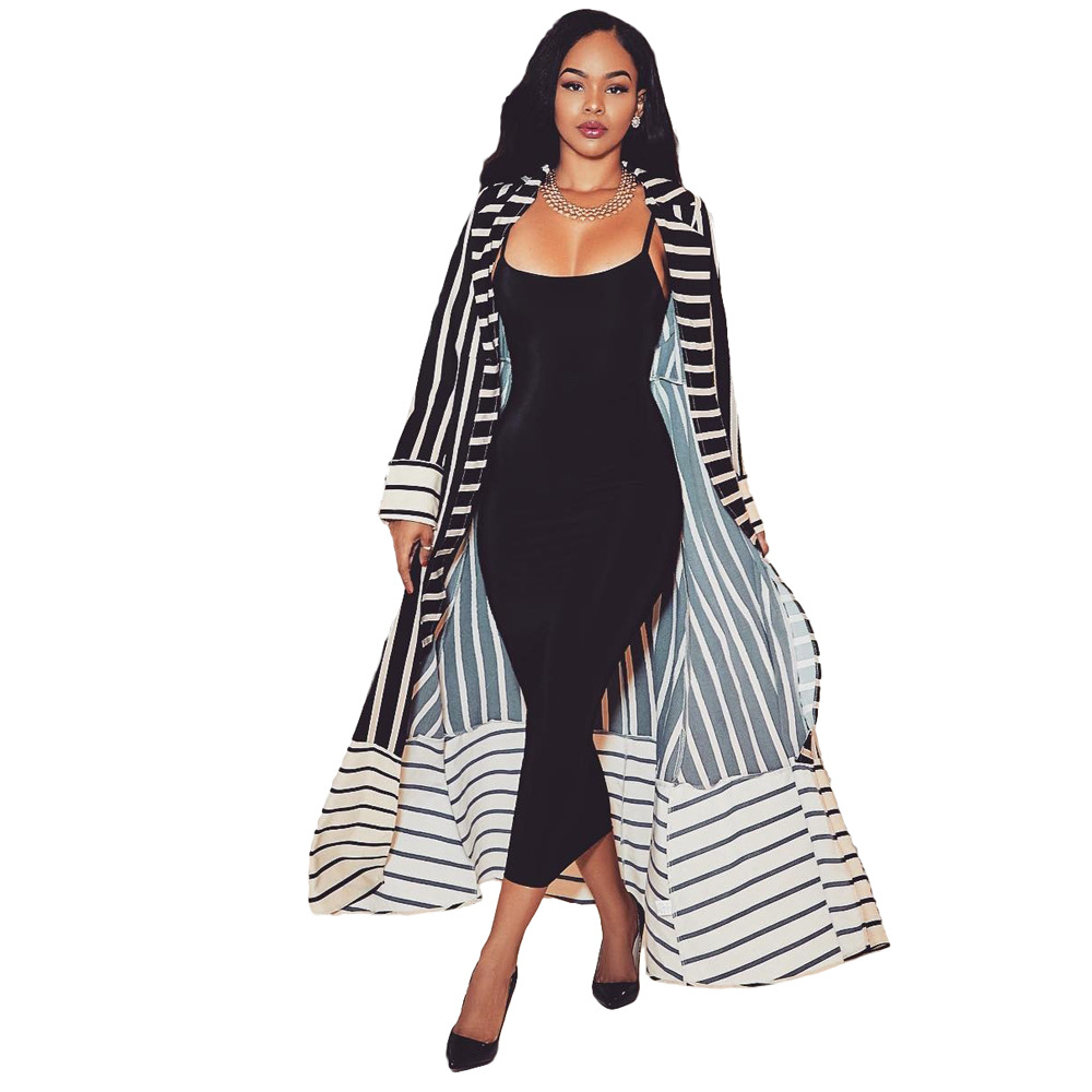 Spring Autumn Women   Trench   Coat Striped Open Stitch Casual Maxi Long Coat   Trench   Coat for Women Plus Size