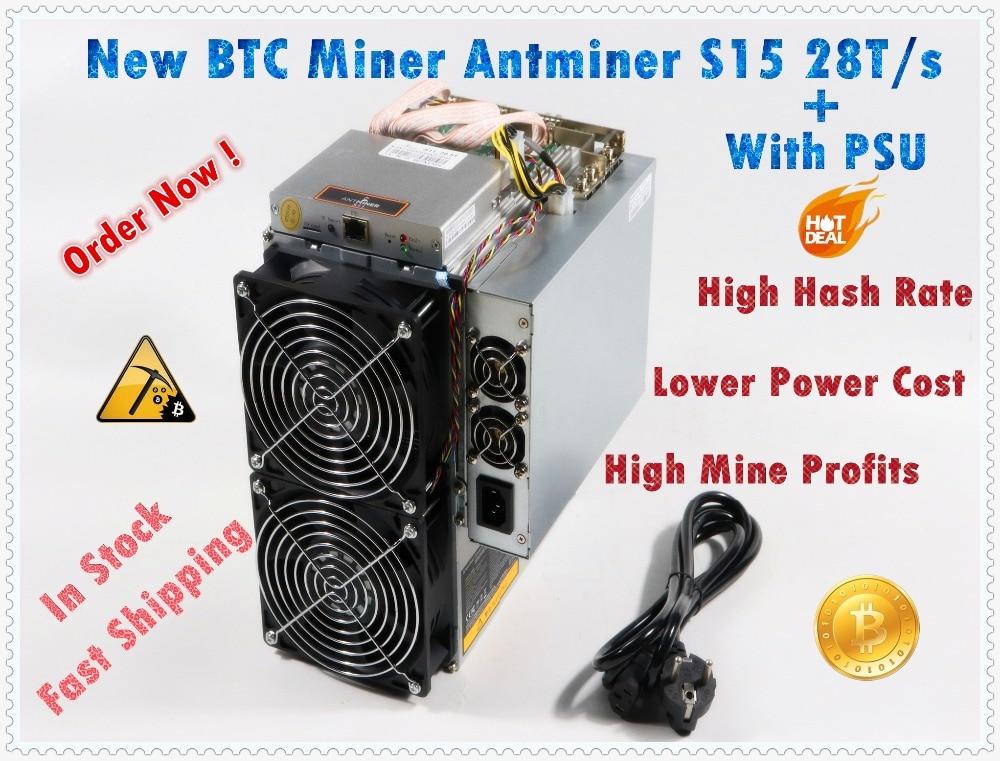 Più nuovo BTC BCH 7nm Asic Minatore AntMiner S15 28 T SHA256 Minatore Meglio di BITMAIN S9 S9j Z9 WhatsMiner M3 m10 in nave stock