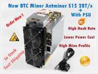 Używane BTC BCH 7nm Asic górnik AntMiner S15 28T SHA256 górnik lepiej niż BITMAIN S9 S9j Z9 WhatsMiner M3 M10 w magazynie statek
