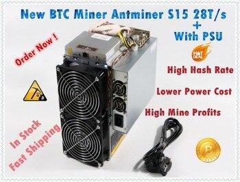 Usado BTC BCH 7nm S15 28T SHA256 Asic AntMiner Mineiro BITMAIN Mineiro Melhor Do S9 S9j Z9 WhatsMiner M3 m10 em estoque navio