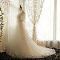 Julia Kui New Arrival A Line Plus Size Wedding Dress V Neck Short Sleeve Lace Up