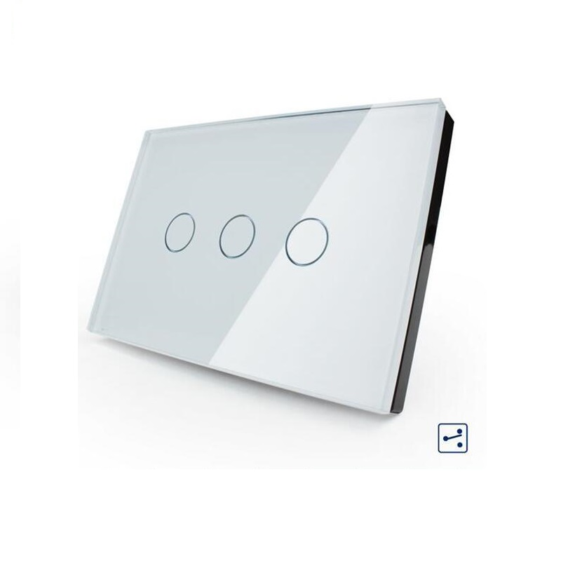 US/AU Standard Touch Switch, OS-003S-81, White Crystal Glass Panel,3-gang 2-way Touch Control Light Switch with LED indicator free shipping us au standard touch switch 2 gang 1 way control crystal glass panel wall light switch kt002us