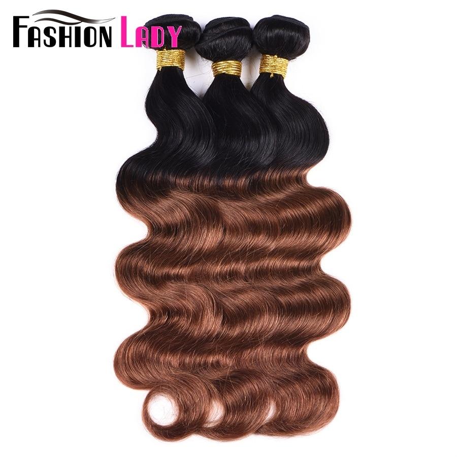 Fashion Lady Pre-Colored Brazilian Ombre Hair Weave Bundles Body Wave Bundles 2 Tone Weave 1b/30 Hair Weave 1PC Non-remy Hair