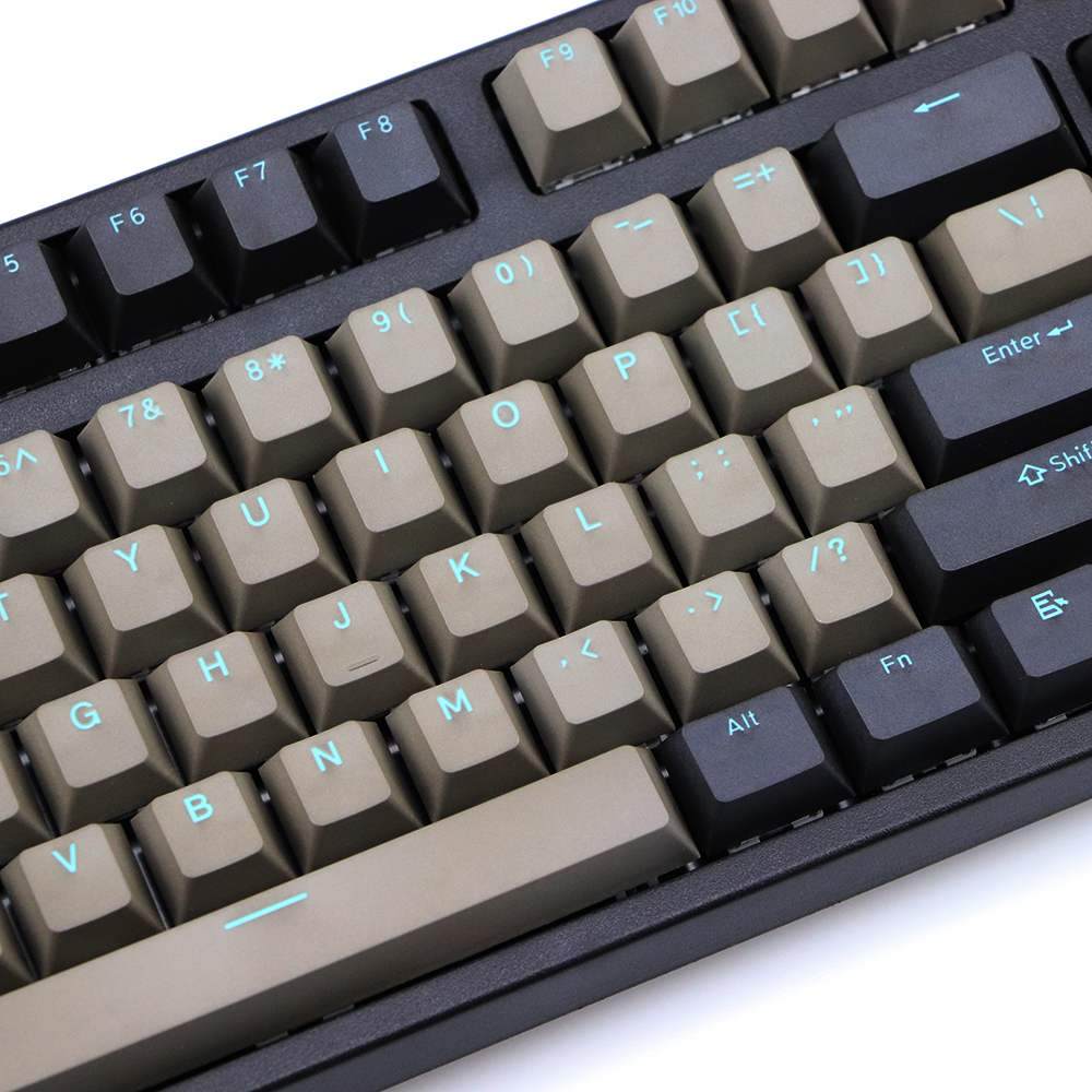 Double Shot PBT Keycap Black Gray Mixed Blue Word Dolch 108 87  Cherry Profile Keycaps For MX Switches Keyboard Key Cap