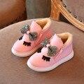Зима новый снегоступы дети обувь для девочек молния плюшевые бантом принцесса сапоги рождественский подарок утолщаются девушка обувь размер 26 27 28 29 30
