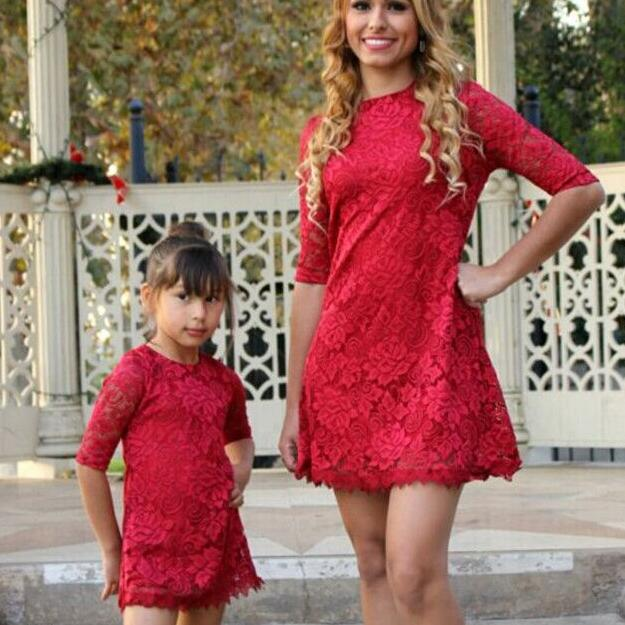 mother daughter lace dress mommy and me clothes family look matching outfits mum mom mother daughter dresses clothes clothing Платье