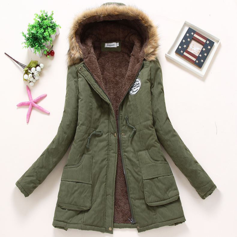 new winter women jacket medium-long thicken plus size 4XL outwear hooded wadded coat slim parka cotton-padded jacket overcoat 3