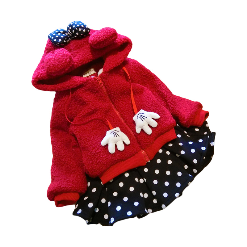 Baby Girls Minnie Hoodie and Skirts Children's Set Outerwear Thick Clothes Kids Hoodie for Girl Fall Winter Clothing Q2066